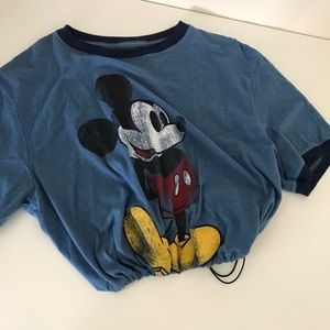 Blue Mickey drawstring crop tee